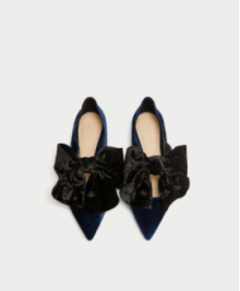 "Photo Credit: Zara ""Velvet Ballerinas with a Bow"""