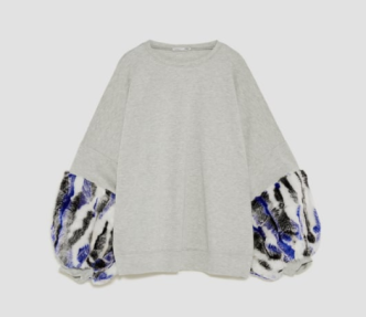 "Photo Credit: Zara ""Sweatshirt with Contrasting Sleeves"""