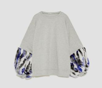 "Photo Credit: Zara ""Sweatshirt with Contrasting Sleeves"""