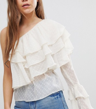 """""""After Market One Shoulder Tiered Ruffle Top"""" -Asos ($42)"""
