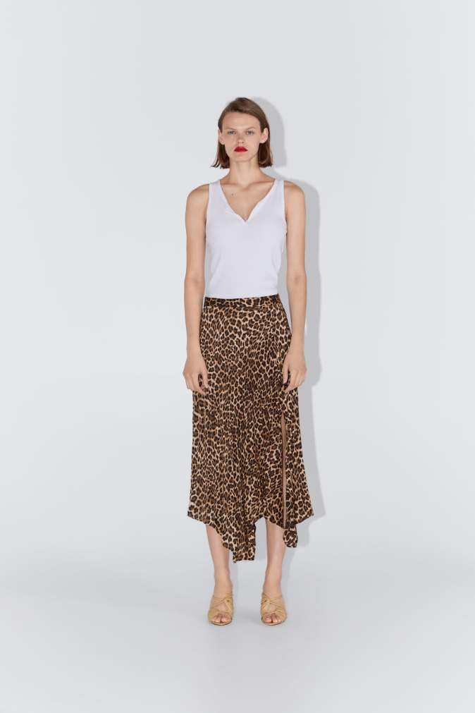 Zara - Animal Print Pleated Skirt