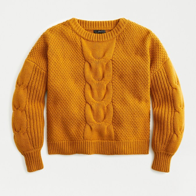 Balloon Sleeve Cable Knit