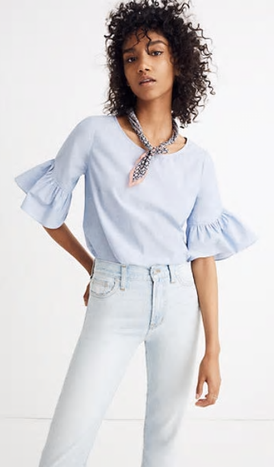 Ruffle Sleeve Top by Made Well